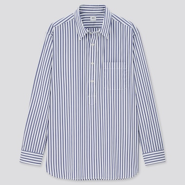 Men Extra Fine Cotton Pullover Broadcloth Long-Sleeve Shirt (Online Exclusive), Blue, Medium