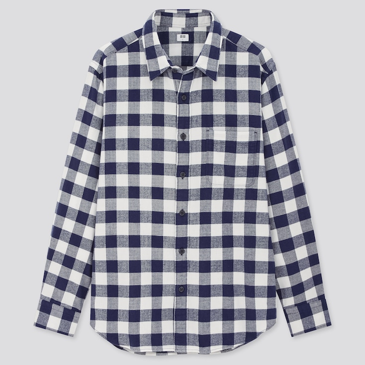 Men Flannel Checked Long-Sleeve Shirt (Online Exclusive), Off White, Large