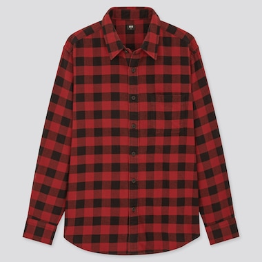 Men Flannel Checked Long-Sleeve Shirt (Online Exclusive), Red, Medium