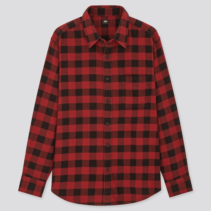 Men Flannel Checked Long-Sleeve Shirt (Online Exclusive), Red, Large
