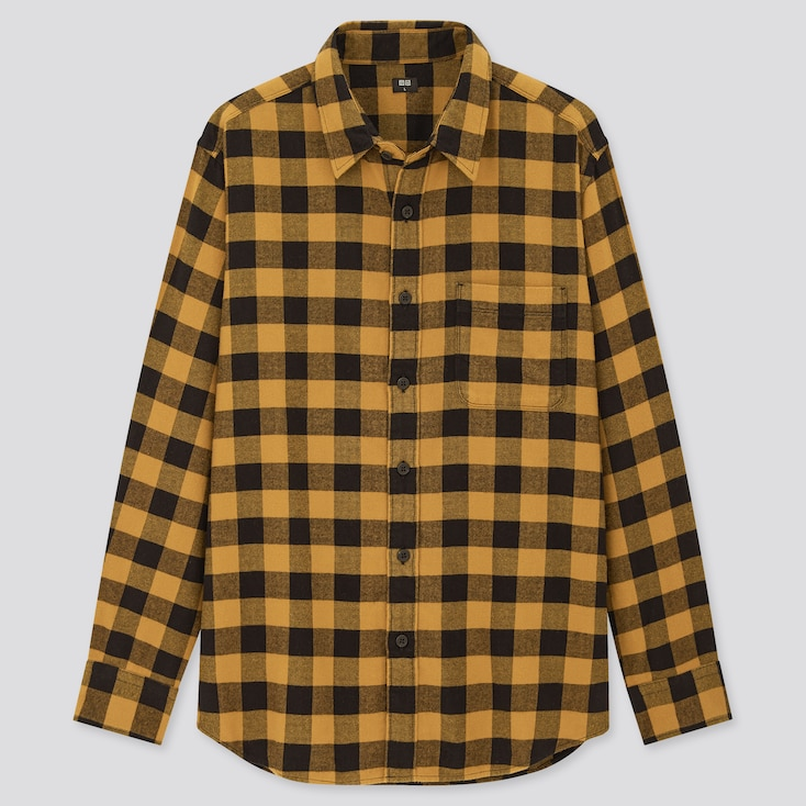Men Flannel Checked Long-Sleeve Shirt (Online Exclusive), Yellow, Large