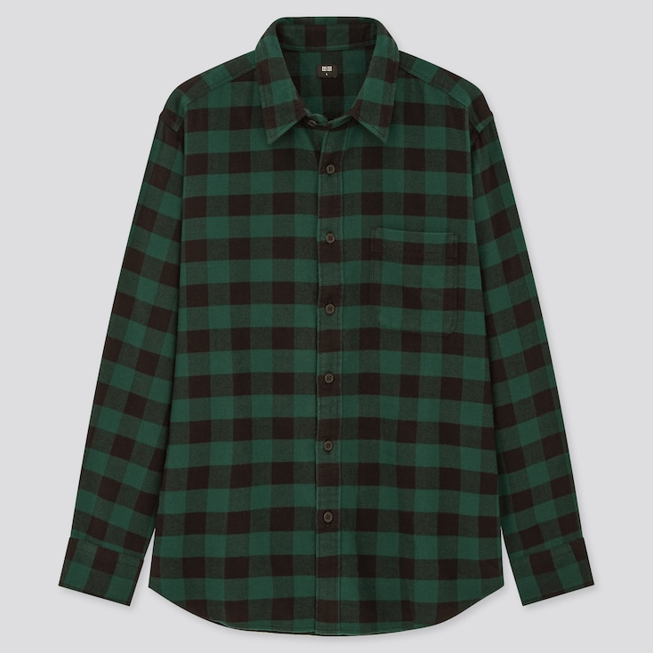 Men Flannel Checked Long-Sleeve Shirt (Online Exclusive), Green, Large