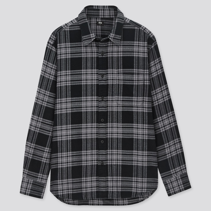 Men Flannel Checked Long-Sleeve Shirt, Black, Large