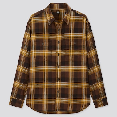 Men Flannel Checked Long-Sleeve Shirt, Brown, Medium