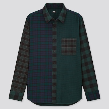 Men Flannel Checked Long-Sleeve Shirt, Dark Green, Medium