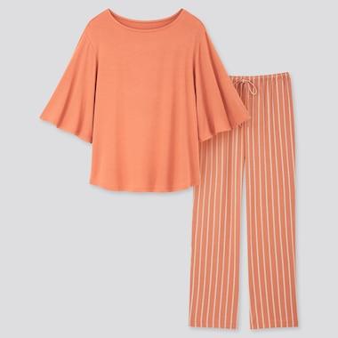 Women Drape Jersey Striped Half Sleeved Set