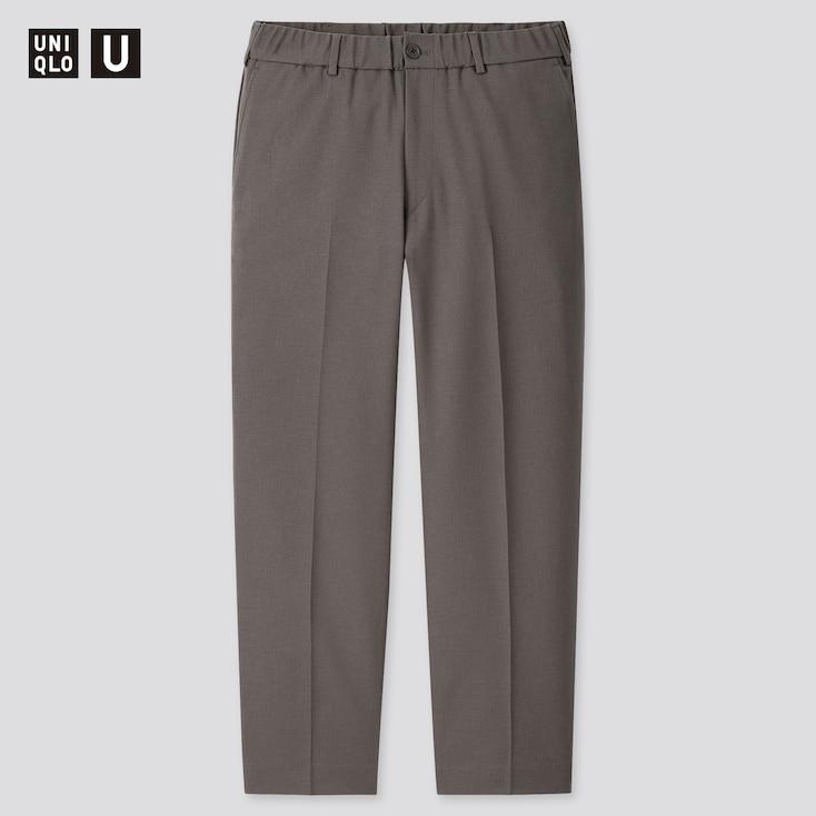 Men U Wide-Fit Tapered Pants, Dark Gray, Large