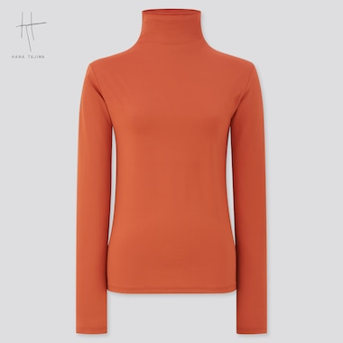 Women Airism Uv Protection High-Neck Long-Sleeve T-Shirt (Hana Tajima), Orange, Medium