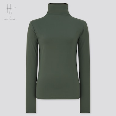 Women Airism Uv Protection High-Neck Long-Sleeve T-Shirt (Hana Tajima), Dark Green, Medium