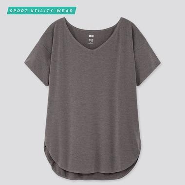 Women AIRism Seamless V Neck Short Sleeved Longline T-Shirt