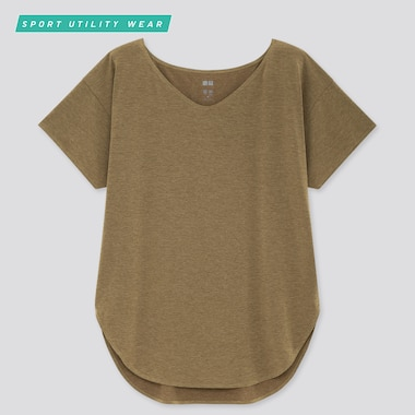 Women Airism Seamless V-Neck Long T-Shirt, Olive, Medium