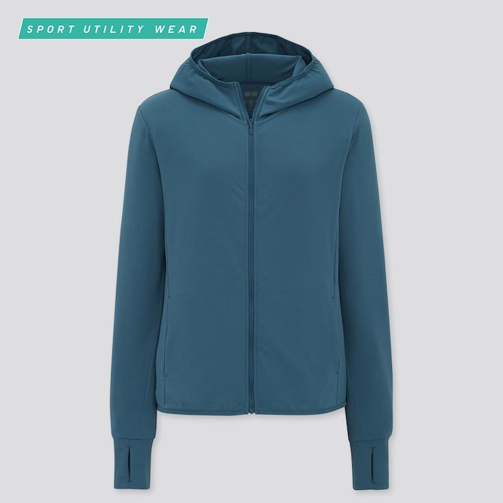 Women Airism Uv Protection Mesh Long-Sleeve Full-Zip Hoodie, Green, Large