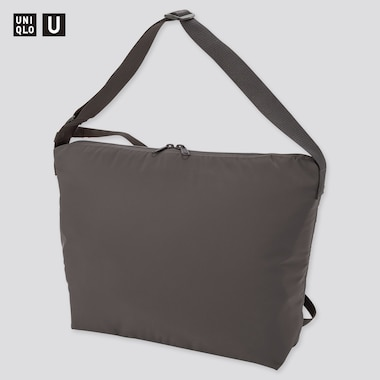 U Padded Shoulder Bag, Dark Gray, Medium