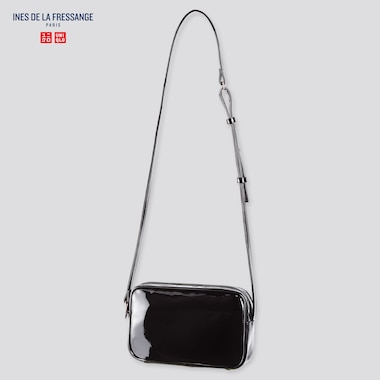 Women Enamel Mini Shoulder Bag (Ines De La Fressange), Black, Medium