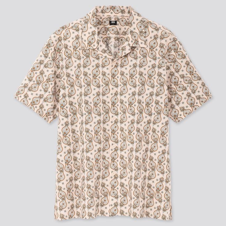Men Open Collar Short-Sleeve Shirt, Beige, Large