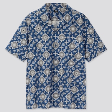 Men Open Collar Short-Sleeve Shirt, Blue, Medium