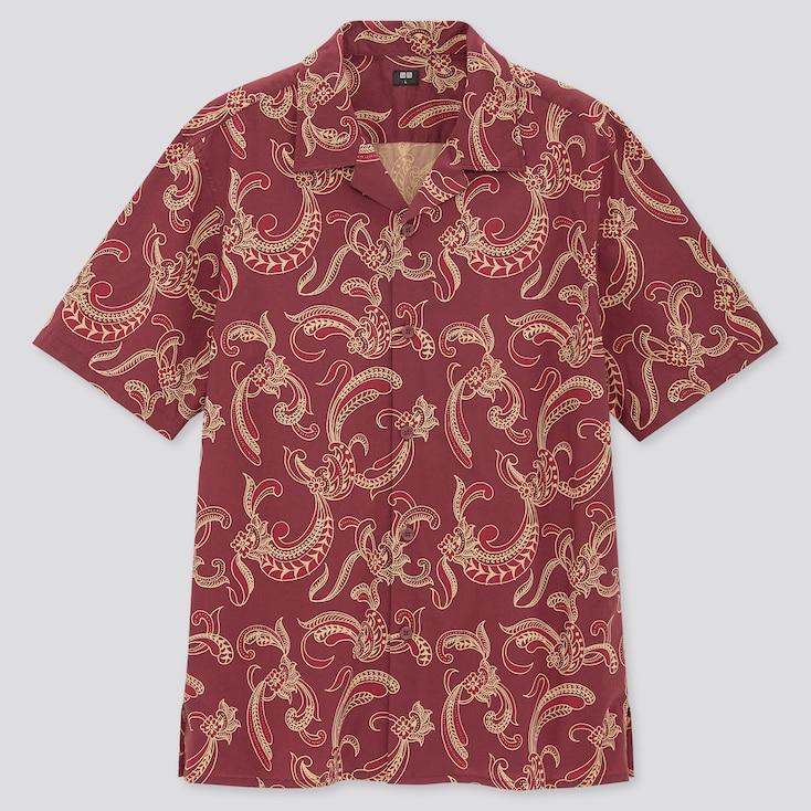 Men Open Collar Short-Sleeve Shirt, Wine, Large