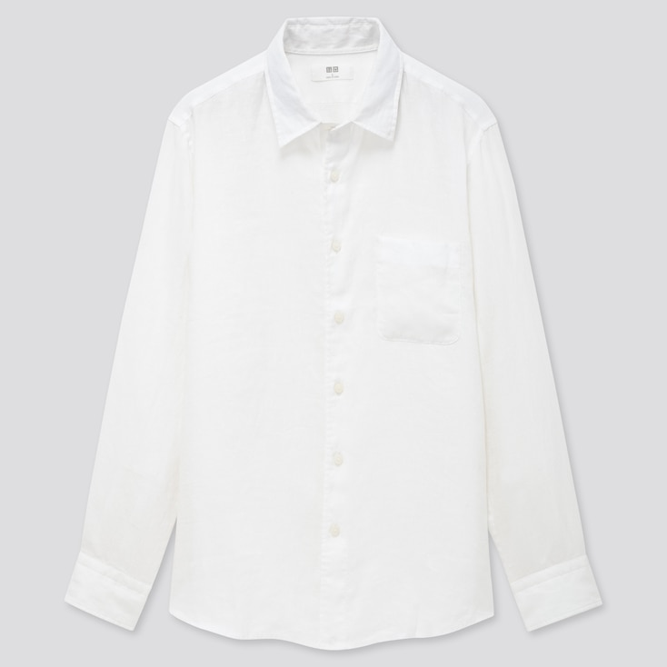 Men Premium Linen Long-Sleeve Shirt, White, Large