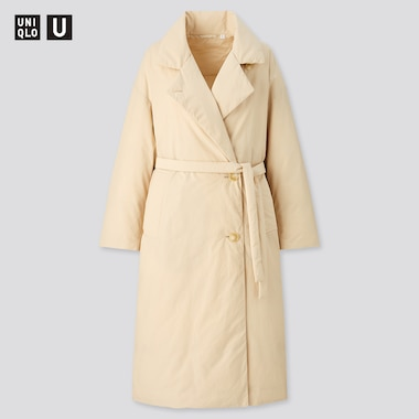 Women U Padded Coat, Natural, Medium