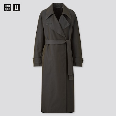 Women U Trench Coat, Dark Gray, Medium