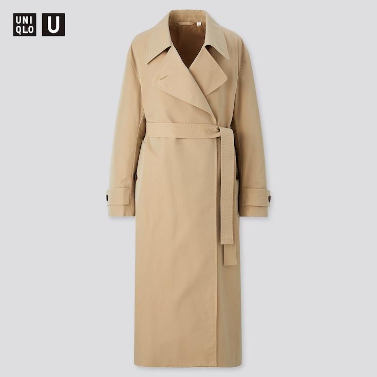 Women U Trench Coat, Khaki, Large