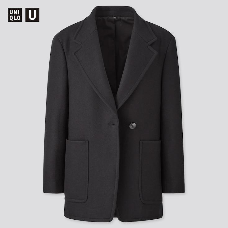 Women U Wool-Jersey Blend Jacket, Black, Large