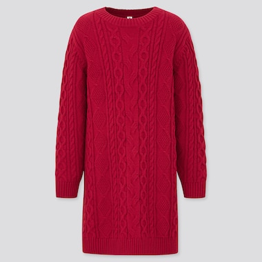 Girls Cable Crew Neck Long Sleeved Dress