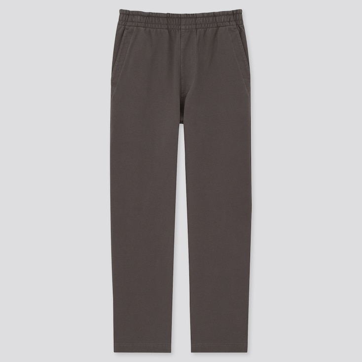 Washed Jersey Relax Ankle Pants, Dark Gray, Large