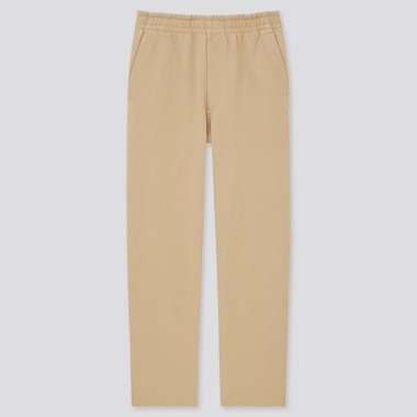 Washed Jersey Relax Ankle Pants, Beige, Medium