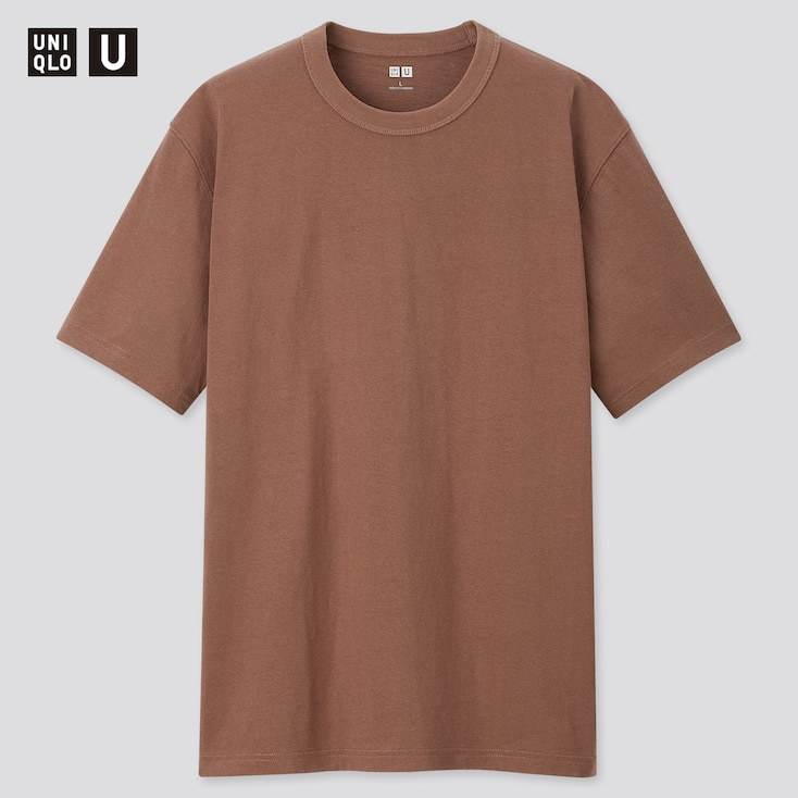 Men U Crew Neck Short-Sleeve T-Shirt, Dark Brown, Large