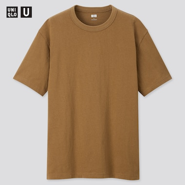 Men U Crew Neck Short-Sleeve T-Shirt, Mustard, Medium