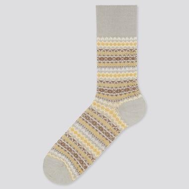 Men Heattech Fair Isle Socks, Gray, Medium