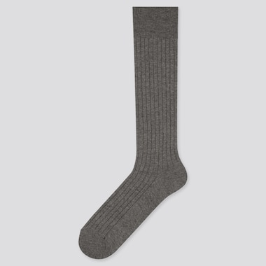 Men Heattech Wide-Ribbed High Socks (Online Exclusive), Gray, Medium