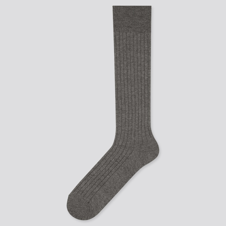 Men Heattech Wide-Ribbed High Socks (Online Exclusive), Gray, Large