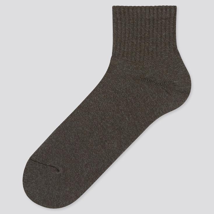Men Heattech Pile Half Socks (Online Exclusive), Dark Gray, Large