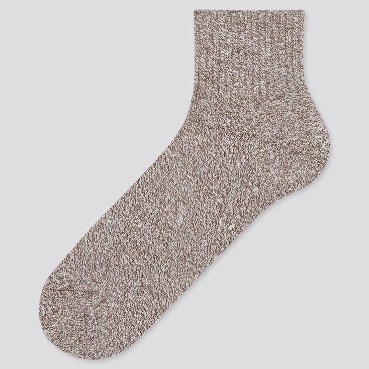 Men Heattech Pile Half Socks (Online Exclusive), Brown, Large