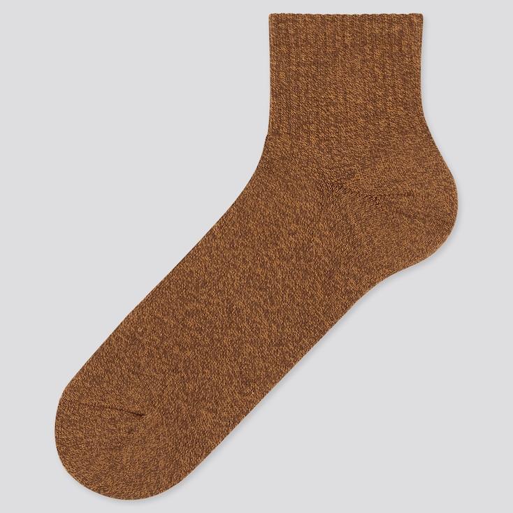 Men Heattech Pile Half Socks (Online Exclusive), Dark Brown, Large