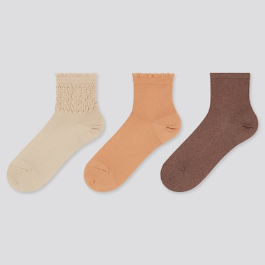 Women Crew Shirring Socks (Three Pairs)