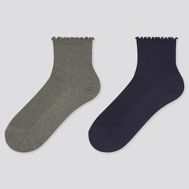 Women Heattech Merrow Crew Socks (2 Pairs) (Online Exclusive), Dark Gray, Medium