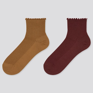 Women Heattech Merrow Crew Socks (2 Pairs) (Online Exclusive), Brown, Medium