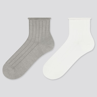 Women Heattech Toproll Crew Socks (2 Pairs) (Online Exclusive), Gray, Medium