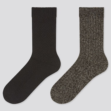 Women Heattech Pique Socks (2 Pairs), Black, Medium