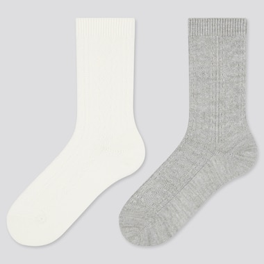 Women Heattech Cable Knit Socks (2 Pairs) (Online Exclusive), Off White, Medium