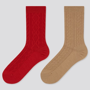 Women Heattech Cable Knit Socks (2 Pairs) (Online Exclusive), Red, Medium