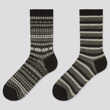 Women Heattech Fair Isle Socks (2 Pairs) (Online Exclusive), Black, Medium