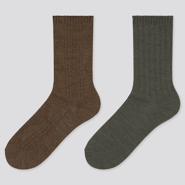 Women Heattech Cable Knit Socks (2 Pairs) (Online Exclusive), Dark Brown, Medium