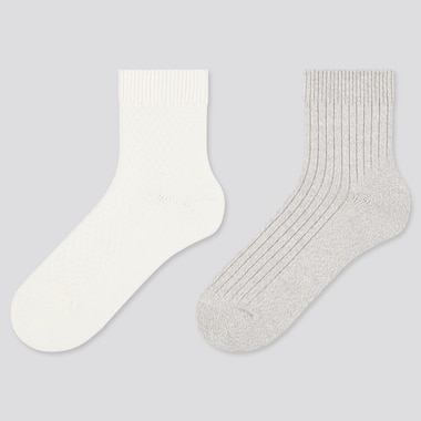 Women Heattech Pique Crew Socks (2 Pairs) (Online Exclusive), Off White, Medium