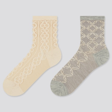 Women Heattech Float Crew Socks (2 Pairs) (Online Exclusive), Off White, Medium