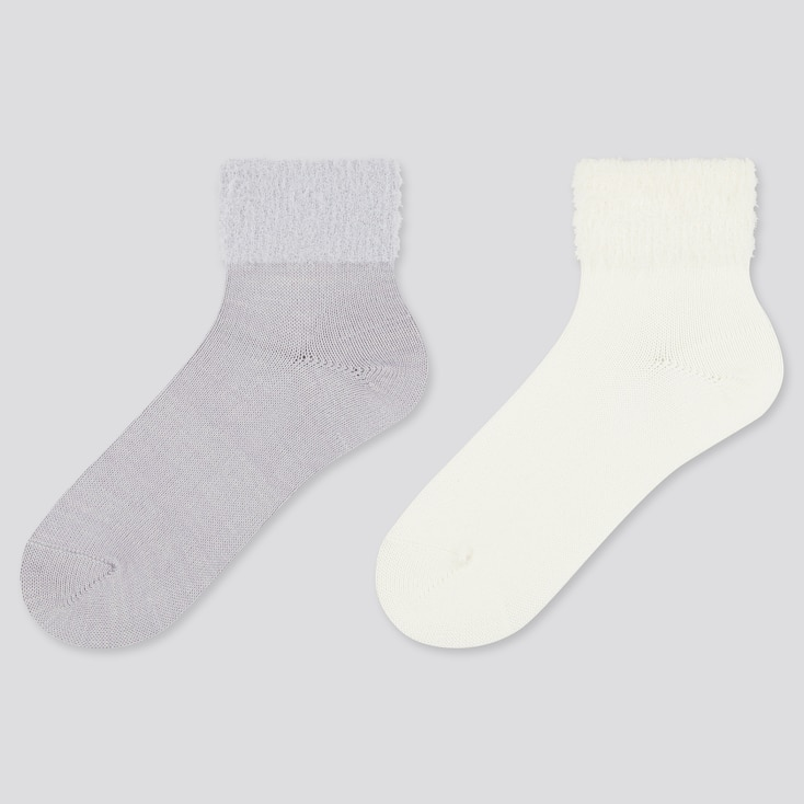 Women Heattech Furry Crew Socks (2 Pairs) (Online Exclusive), Gray, Large