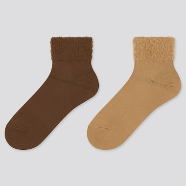 Women Heattech Furry Crew Socks (2 Pairs) (Online Exclusive), Dark Brown, Medium